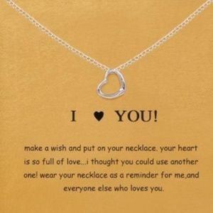 Jewelry - 4 for $25 I Love You Pendant Silver Color Necklace